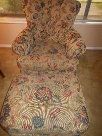 Comfy over-stuffed chair & ottoman