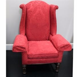 Sherrill Arm Chair: A contemporary Sherrill oversized wingback chair, in red. This item coordinates with item 17COL152-027 in this sale.