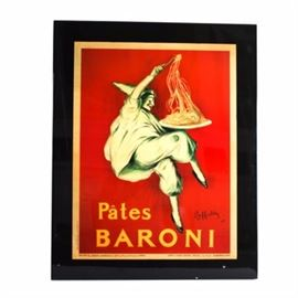 Pates Baroni Offset Lithograph: A Pates Baroni framed offset lithograph reproduction of a poster by artist Leonetto Cappiello (1875-1942). This brightly colored print features a harlequin with a large plate of pasta. Displayed on a black wood panel.
