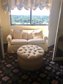 Love Seat and Round Tufted Ottoman