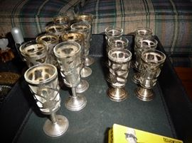 STERLING/GLASS GOBLETS