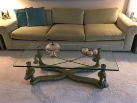 Custom-designed Sofa with pale green velvet upholstery and hand-painted Coffee Table with glass top