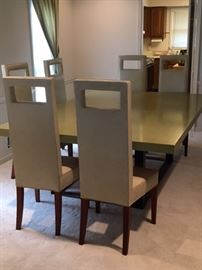 Custom built Dining Table with metal base and 6 faux leather Dining Chairs