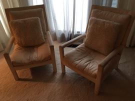 Pair of upholstered Thayer Coggin Parsons Arm Chairs