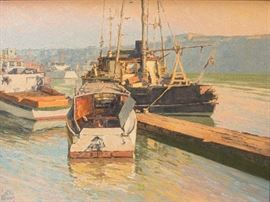 "Irion Shields (California, 1895-1983) Painting, ""Autumn Mooring"""