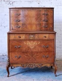 Fabulous French burled chest on chest