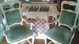 """Impressive Carved Wooden Backgammon/Checkers Game Table with Matching Chairs. Can be used as a Regular Table when Game Board is Flipped Over. Asking Price $1795 (Measures 43"""" Long/30 1/2"""" Wide/30"""" Tall)"""