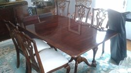 """Beautiful Walnut Dining Table with 6 Chairs, 2 Leaves and Cover Pads. Asking Price $1495 (Measures  68"""" Long (w/o Leaves)/44"""" Wide/29"""" Tall"""