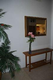 SOFA TABLE, WALL MIRROR, ARTIFICIAL PLANTS