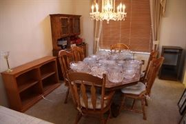 Oak dining room set with hutch and buffet with beautiful crystal galore