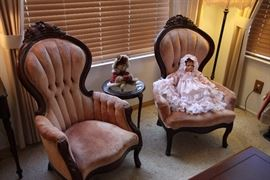 His and hers Victorian style chairs
