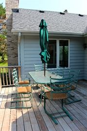 Table and Chairs, umbrella and stand