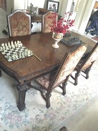 Ornate Wood Table and 6 chairs