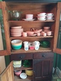 old cupboard and russel wright dinnerware