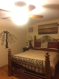 Beautiful queen bed, brand new bedding for sale as well!