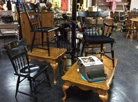 Hitchcock Chairs, Oak Coffee Table w/Matching End Tables, Antique Typewriters