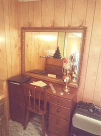 Small kneehole desk, chair, large vintage wall mirror