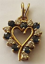 WDG008  14K Gold Heart Pendant w/ Diamonds & Sapphires