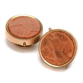 Pair of Antique Gold Filled Fossilized Coral Shirt Studs: A pair of antique gold filled fossilized coral shirt studs.