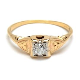 Early 20th Century 14K Yellow Gold Diamond Engagement Ring: An early 20th century 14K yellow gold engagement ring featuring an Old European Cut diamond.