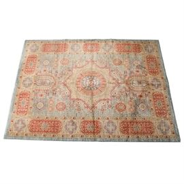 "Safavieh ""Mahal"" Navy/Red Turkish Area Rug: A Safavieh Mahal Turkish Rug. This red and navy rug is decorated with an intricate floral design with medallions that runs throughout the piece. It is marked ""Safavieh"" as well as ""Made in Turkey, made 06/04/06""."