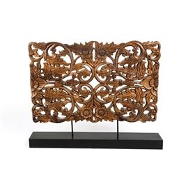 Vintage Wooden Decorative Floral and Scroll: A vintage wooden decorative floral and scroll. This piece includes an intricately engraved floral design. It is unmarked.