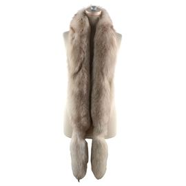 """Vintage Fox Fur: A vintage fox fur stole. This light brown stole features a velour lining, retaining original label from """"Gidding-Jenny""""."""