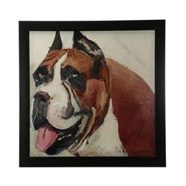 Jean-Marie McDonnell Giclee of Dog: A giclee by Alabama artist Jean-Marie McDonnell. This oversized giclee depicts a bust portrait of a boxer dog. This print has visible brushwork and a textured varnish. Printed on canvas and stretched over bars. Signed in plate to the lower right. Presented in a painted black frame. To the verso, wired to hang.