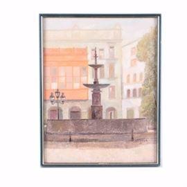 """Ernest Gutierreza Oil Painting on Canvas """"Plaza de Armas de Lima"""""""