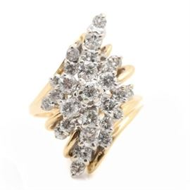 14K Yellow Gold 1.60 CTW Diamond Ring: A 14K yellow gold 1.60 ctw diamond ring. This ring showcases twenty-seven round brilliant cut diamonds adorned throughout the openwork stepped cluster like setting. This piece displays bypass & brightly polished shoulders.