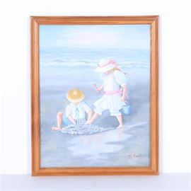 M. Heck Oil Painting of Children on the Beach: A signed oil painting on canvas of children on the beach by M. Heck. Signed by hand to the lower right corner, the painting depicts a young girl and boy creating a sand castle on the beach. The painting is presented in a stained wood frame with a wire present to the verso for hanging purposes.