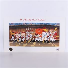 "Autographed Limited Edition Offset Lithograph ""The Big Red Machine"": An autographed limited edition offset lithograph on paper titled The Big Red Machine. This print depicts the famous Looney Tunes characters in Cincinnati Reds uniforms holding baseball bats in the dugout and is autographed by Pete Rose, Ken Griffey, Joe Morgan, Johnny Bench, Tony Perez, George Foster, David Concepcion, Cesar Geronimo, and Don Gullett. With the title present in typeset to the upper margin, the print is numbered 3 in an edition of 30 and features seals and copyright information to the lower margin. The print is accompanied by a Certificate of Authenticity and photographs of all the players signing the print."