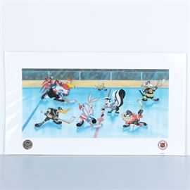 "Looney Tunes and Hockey-Themed Lithoserigraph Poster ""The Tunes Take the Ice"": A Looney Tunes and hockey-themed lithoserigraph poster titled The Toons Take the Ice. This print, featuring a sericel laid over an offset lithograph ground, depicts Looney Tunes characters wearing the uniforms of several different National Hockey League teams, their sticks prepared to chase after a falling puck. This print is marked ""H.C. 34"" to its lower left and includes seals from Warner Brothers and the NHL to its lower margin. It is presented inside protective plastic and has a certificate of authenticity to its verso."