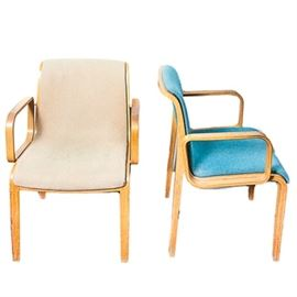 Mid Century Modern Upholstered Bent Wood Chairs by Knoll