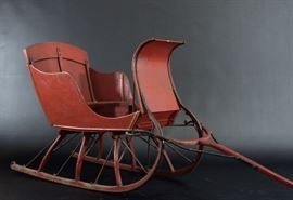 Children's Victorian Pull Sleigh in Red Paint