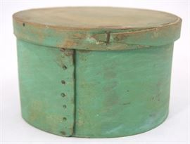 Primitive Bent Wood Pantry Box in Green Paint