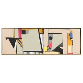"""Ronald Ahlström Abstract Mixed Media Collage on Board: An abstract mixed media collage on board by listed American artist Ronald Ahlström (1922-2012). Depicted are graphic shapes and lines creating an abstract motif. Artist's signature present to lower right corner in ink next to a stamp that reads """"RGA."""" Presented without glass in a gold colored metal frame with wire hanger to verso."""