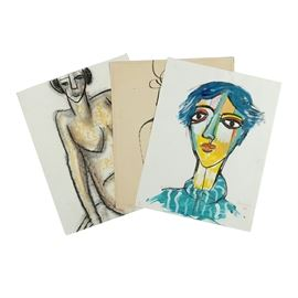 Assortment of Ronald Ahlström Abstract Figural Compositions on Paper: An assortment of abstract figural compositions on paper by listed American artist Ronald Ahlström (1922-2012). Included is an acrylic bust portrait of a woman portrayed with exaggerated features, thick black delineations, and non-mimetic colors. Also included is an ink drawing of a nude female figures portrayed with simple sinuous delineations. The third work features a charcoal and pastel drawing of a seated nude female figure portrayed with thick black delineations and yellow and brown contours. All works are signed in graphite and include the artist's monogram stamp. None of the compositions are matted and all remain unframed.