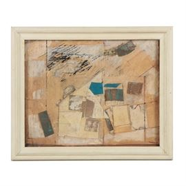 """Ronald Ahlström Abstract Mixed Media Collage on Board: An abstract mixed media collage on board by listed American artist Ronald Ahlström (1922-2012). This work features geometric forms overlapping one another with scratches to the surface. Artist's signature present to lower right corner in ink next to a stamp that reads """"RGA."""" Presented under glass in white wooden frame with wire hanger to verso."""