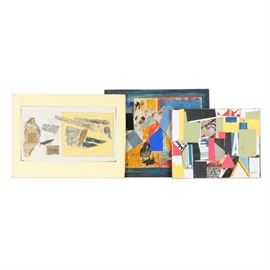 Assortment of Ronald Ahlström Mix Media Collage on Board: An assortment of three mixed media collage on canvas board by Chicago based artist Ronald Ahlström (1922 – 2012) . Each work uses a mixture of paper collage, paint, and marker in order to create abstract compositions. To the bottom right each work is signed in either marker or ink. Some works in this collection do have a gallery label written in marker to the verso. The works are presented unmounted and without a frame.