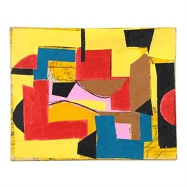 """Ronald Ahlström Abstract Mixed Media Collage on Canvas """"Untitled"""": An abstract mixed media collage on canvas titled Untitled by listed American artist Ronald Ahlström (1922-2012). This work depicts a geometric composition rendered with layered paper and acrylic in primary colors. It is signed to the bottom right corner and to the verso. Additional artist inscriptions to the verso. This work is presented unframed."""