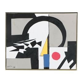 Ronald Ahlström Abstract Mixed Media Collage on Canvas Board: An abstract mixed media collage on canvas board by listed American artist Ronald Ahlstorm (1922-2012). Composed of acrylic paint, ink, and scraps of paper, this work features a design of geometric shapes in black red, yellow, and blue, scattered throughout white and gray rectangular planes. The work is signed to the lower left next to the artist's monogram stamp; it is also signed to the verso with additional handwritten information about the composition. Presented without glass in a gold-tone metal frame.