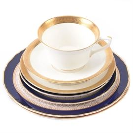 Royal Worcester Porcelain Tableware: A collection of Royal Worcester porcelain tableware. Includes a cup and saucer, salad plate and bread and butter plate in the Durham pattern, and two Regency pattern bread and butter plates and a salad plate. Each is marked to the underside.