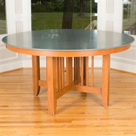 Canadel Furniture Mission Style Round Corian and Birch Dining Table