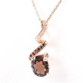 14K Rose Gold Smoky Quartz Brown and White Diamond Pendant: A 14K rose gold smoky quartz, brown and white diamond pendant necklace.