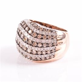 10K Rose Gold Brown and White Diamond Dome Ring: A 10K rose gold chocolate and white diamond dome ring.