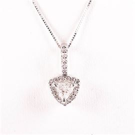 14K White Gold Trillion Diamond Halo Necklace: A 14K white gold trillion diamond halo necklace.