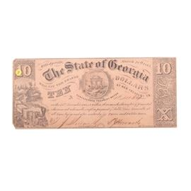 March 20, 1865, State of Georgia $10 Bill: An obsolete currency banknote. The $10 banknote was printed in Milledgeville, Georgia and is dated March 20, 1865. A stamp is present to the back of the bill.