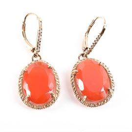 Gold Plated Sterling Silver Diamond Carnelian Earrings: A pair of gold plated sterling silver diamond carnelian earrings.