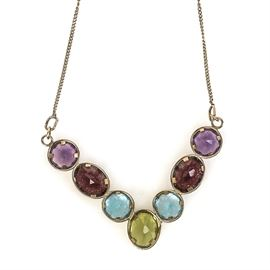 14K Yellow Gold and Multi-Stone V-Pendant Necklace